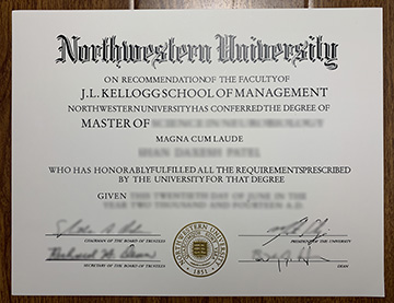 Northwestern University Degree issued in the J.L.Kellogg School of Management