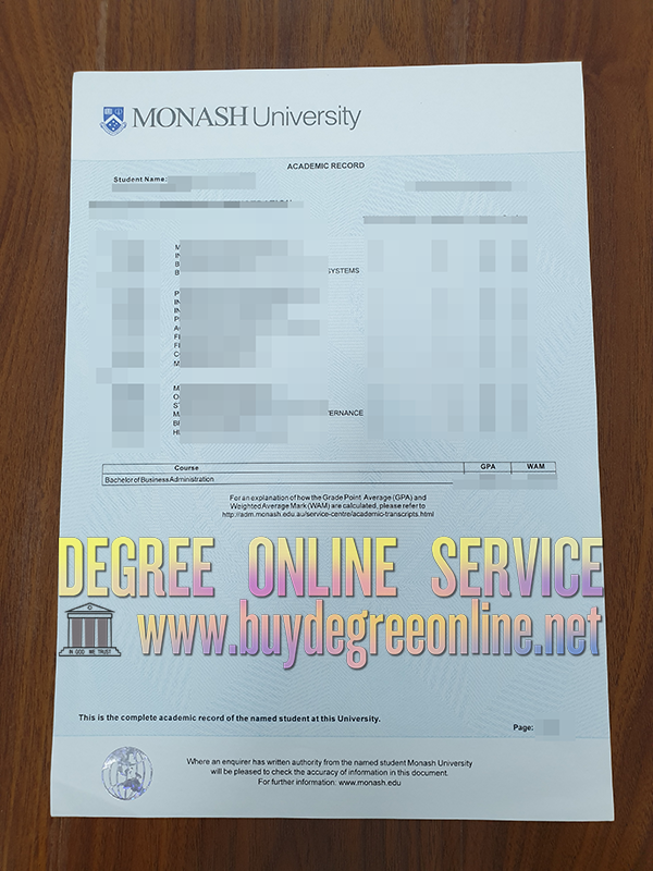 Get a Monash University academic record online