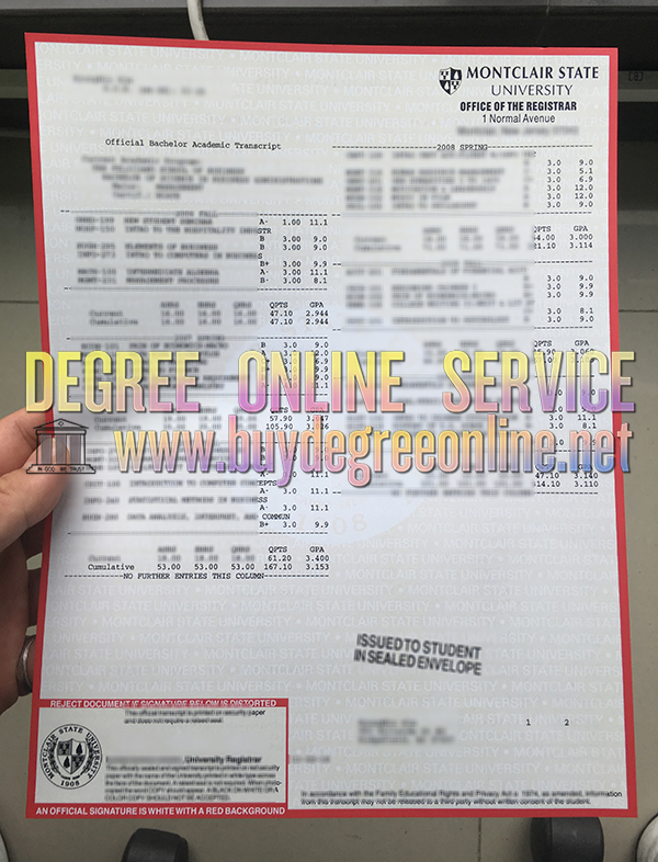 Montclair State University transcript