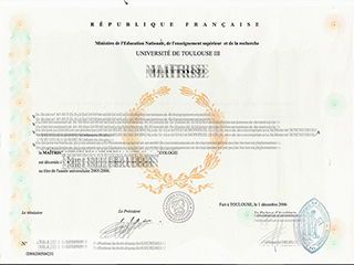 Fake Université Toulouse III – Paul Sabatier diploma from Franch for sale