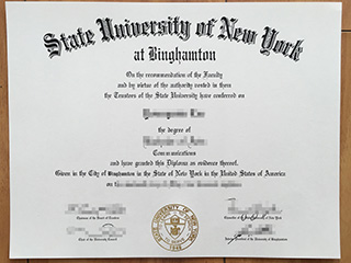 The fake State University of New York at Binghamton diploma for sale here