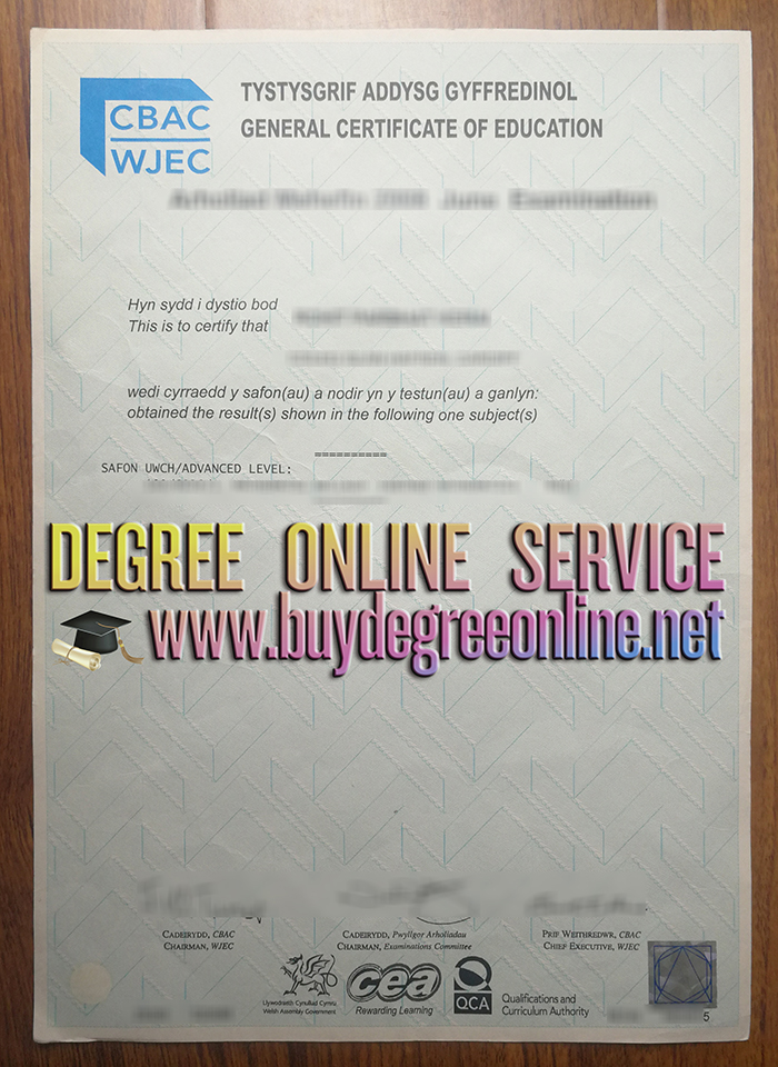 WJEC GCE certificate